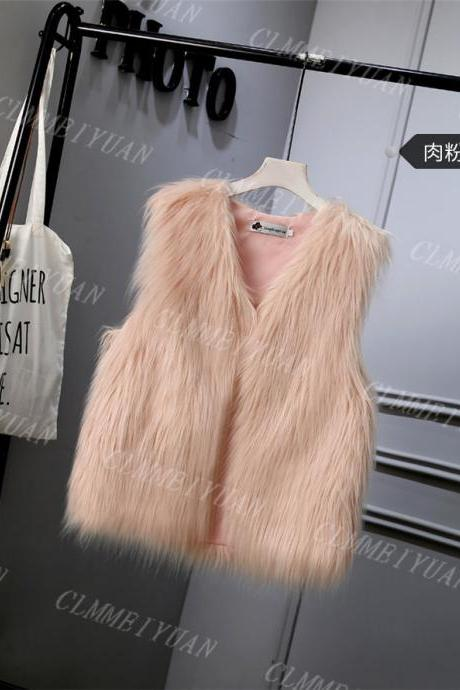 Women Faux Fur Vest Solid Winter Loose Oversize Female Sleeveless Jacket Waistcoat light pink
