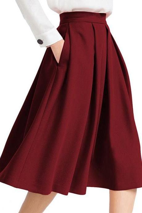 Burgundy High Rise Pleated A-Line Knee Length Skirt Featuring Pockets