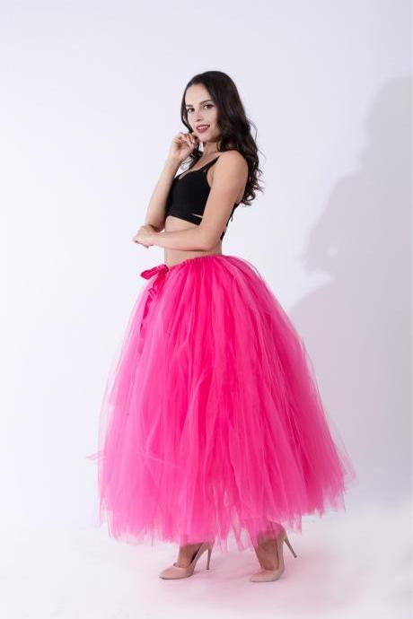 Puffty Women Tulle Tutu Skirt High Waist Lace up Jupe Female Prom Party Bridesmaid Skirts hot pink