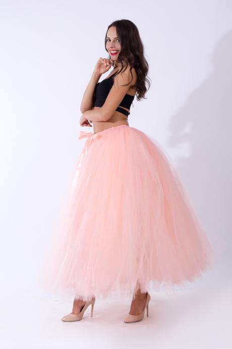 Puffty Women Tulle Tutu Skirt High Waist Lace up Jupe Female Prom Party Bridesmaid Skirts salmon