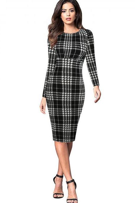 Women Long Sleeve Work Party Dress Graffiti Printed Plaid Knee Length Bodycon Pencil Dress black