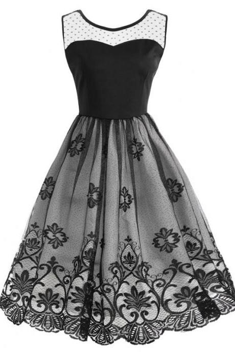 Vintage Mesh Floral Patchwork Dress Women Sleeveless A Line Cocktail Work Party Dress black