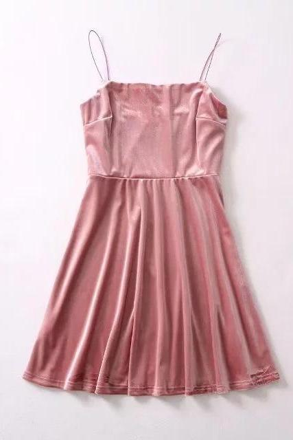 Pink Velvet Straight-Across Spaghetti Straps Short Skater Dress