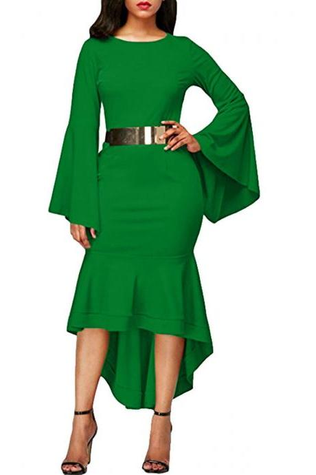 Women Bodycon Mermaid Work Dress Flare Long Sleeve O Neck Belted High Low Club Party Dress green