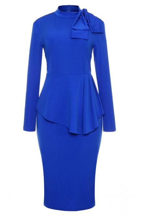 Bow High Neck Peplum Party Dress Long Sleeve Sheath Work Office Bodycon Pencil Dress blue