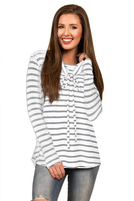 Spring Autumn Women Striped T-Shirt Casual Long Sleeve Turtleneck Basic Tees Ladies Tops white