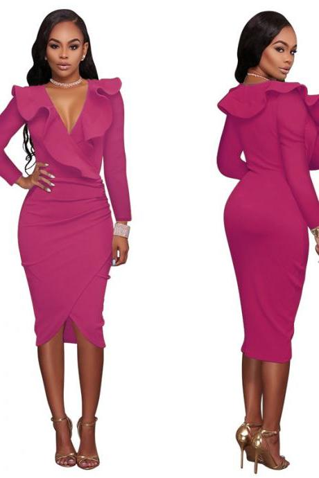 Sexy Deep V Neck Ruffles Bodycon Midi Pencil Dress Slim Long Sleeve Cocktail Party Club Dress hot pink