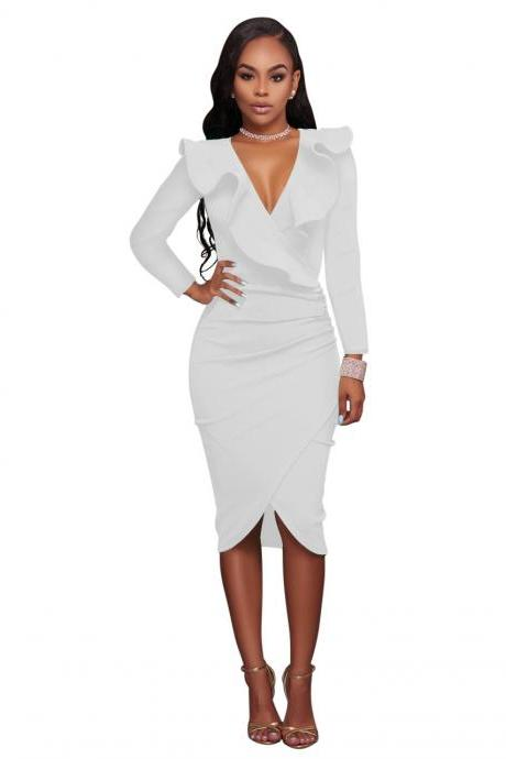 Sexy Deep V Neck Ruffles Bodycon Midi Pencil Dress Slim Long Sleeve Cocktail Party Club Dress off white