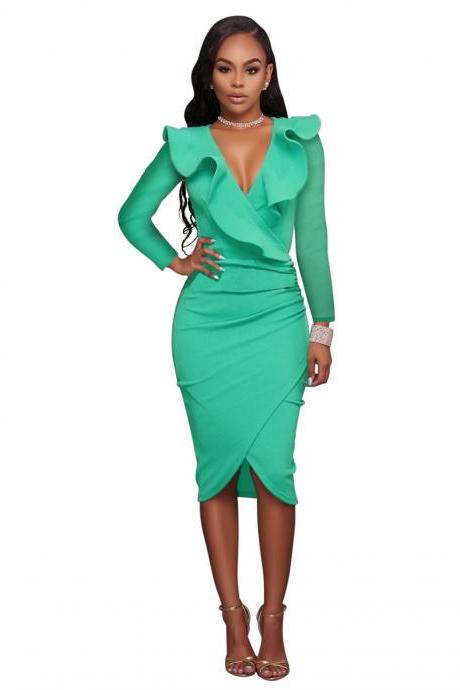 Sexy Deep V Neck Ruffles Bodycon Midi Pencil Dress Slim Long Sleeve Cocktail Party Club Dress pale green