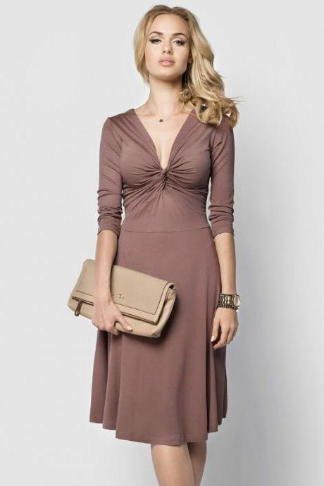 Sexy Deep V Neck Work Office Dress 3/4 Sleeve Women A Line Business Cocktail Party Dress coffee
