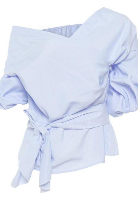 Off the Shoulder Women Tops Deep V Neck Cotton Casual Puff Long Sleeve Belted Blouse Shirt baby blue