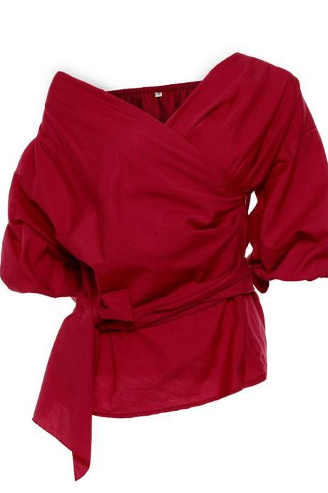 Burgundy Off-The-Shoulder Plunge V Long Puffed Sleeves Bow Accent Belt Top