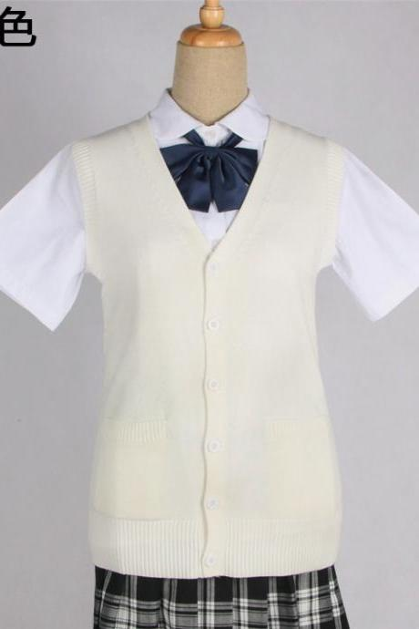 Japanese JK Uniform Cardigans Vest Cosplay Student Cotton V Neck Sleeveless Sweater cream