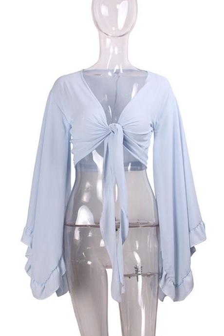 Sexy V Neck Bow Tie Short Cross Tops Women Summer Chiffon Long Sleeve Cropped Tee Shirt baby blue