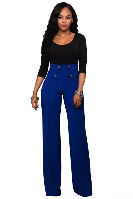 Hot Women High Waist Wide Leg Long Pants Office Lady Career Buttons Casual Trousers blue