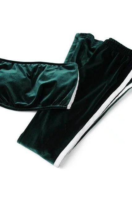 Women Velvet Strapless+Long Flare Pants Suit Striped Trousers Two Pieces Tracksuit hunter green