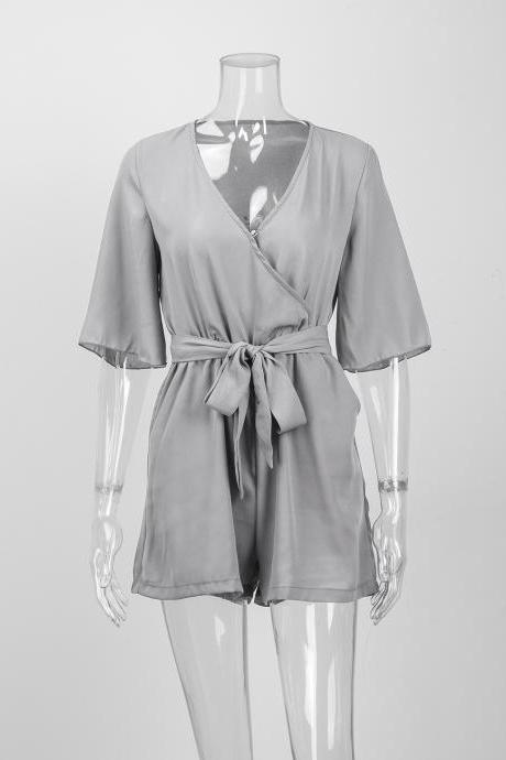 Grey Chiffon Plunge V Half Sleeves Romper Featuring Bow Accent Tie Belt