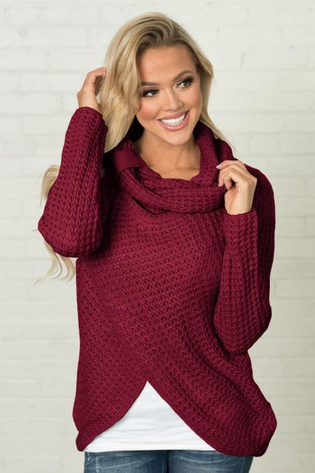 Women High Neck Sweater Buttons Loose Long Sleeve Asymmetrical Jumper Knitted Pullover Shirt burgundy