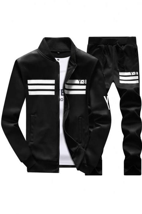 Mens Tracksuit Set Plus Size Stand Collar Men Sportswear Casual Sets Fitness Clothing black