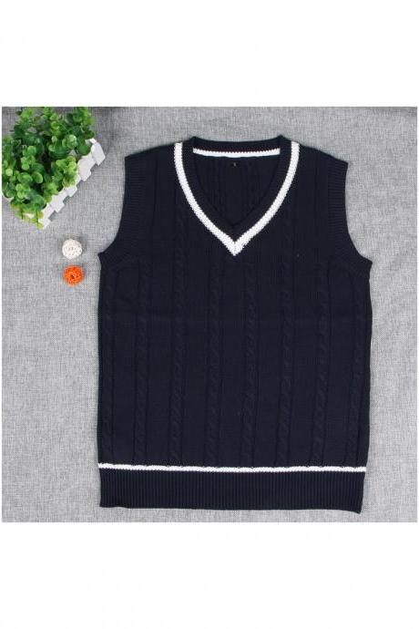 British Preppy Sleeveless Sweater Shool Uniforms V-neck Japanese Boys And Girls Students Knitted Vest navy blue