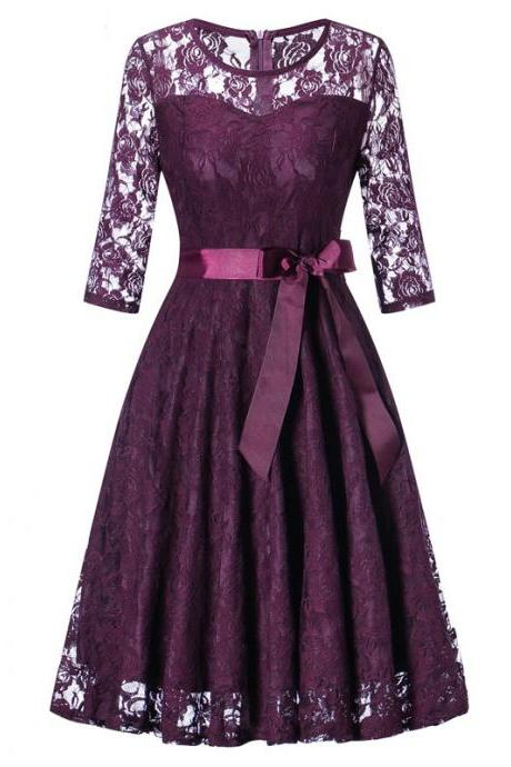 Women Floral Lace Dress 3/4 Sleeve Belted Elegant Evening Retro Swing Office Party Dress plum