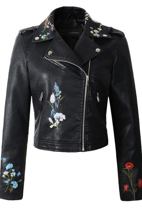 New Spring Women Faux PU Leather Jacket Lady Slim Floral Embroidery Zippers Motorcycle Coat Outerwear black