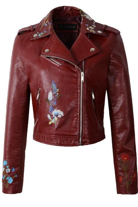 New Spring Women Faux PU Leather Jacket Lady Slim Floral Embroidery Zippers Motorcycle Coat Outerwear burgundy