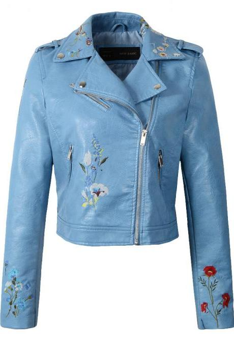 New Spring Women Faux PU Leather Jacket Lady Slim Floral Embroidery Zippers Motorcycle Coat Outerwear light blue