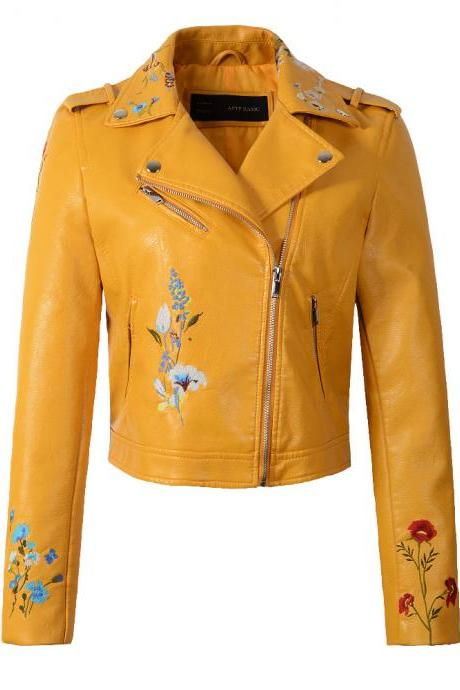New Spring Women Faux PU Leather Jacket Lady Slim Floral Embroidery Zippers Motorcycle Coat Outerwear yellow