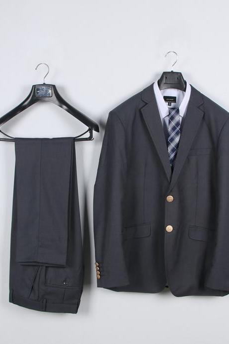 Preppy Style Japanese DK Student Uniforms Men Suit(Jacket+Pants) Boys Two Pieces Sets gray