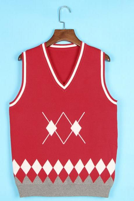 Spring Autumn V-Neck Knitted Vest Boys and Girls Japanese School Uniform Sleeveless Sweater red