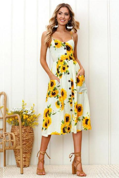 Boho Midi Dress Women Sexy Spaghetti Strap Buttons Pockets Floral Printed Beach Sundress 3#