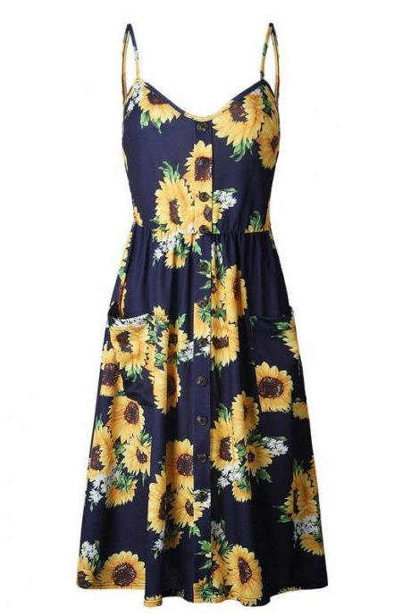 Boho Midi Dress Women Sexy Spaghetti Strap Buttons Pockets Floral Printed Beach Sundress 5#