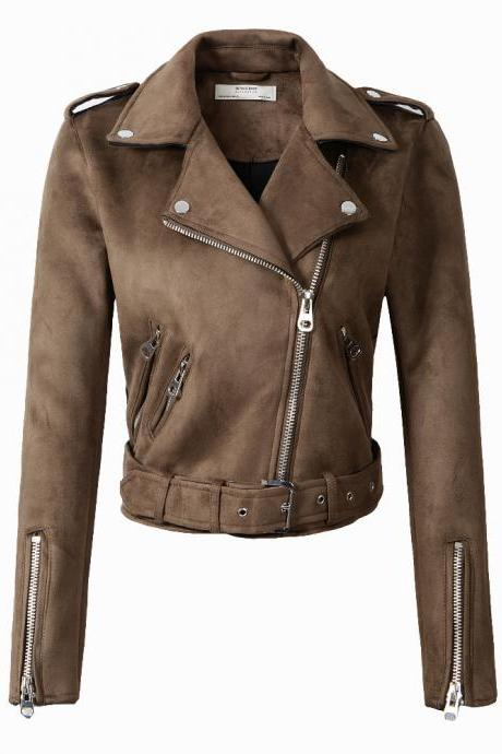 New Arrial Women Suede Faux Leather Jackets Lady Fashion Motorcycle Coat Biker Outerwear coffee
