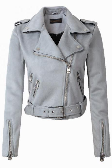 New Arrial Women Suede Faux Leather Jackets Lady Fashion Motorcycle Coat Biker Outerwear light blue