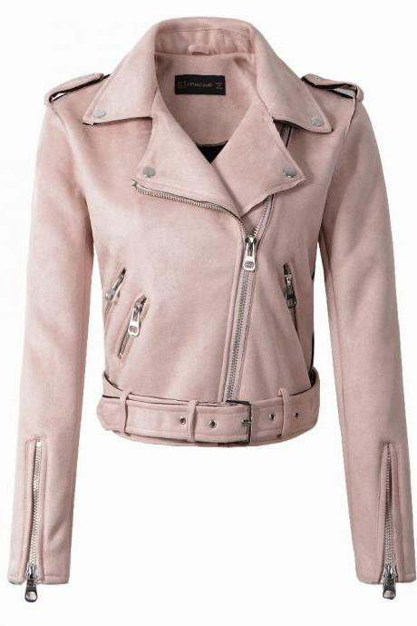 New Arrial Women Suede Faux Leather Jackets Lady Fashion Motorcycle Coat Biker Outerwear pink