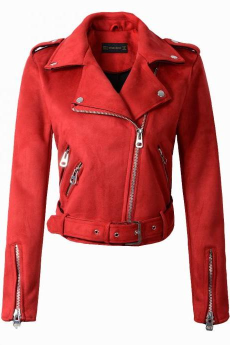 New Arrial Women Suede Faux Leather Jackets Lady Fashion Motorcycle Coat Biker Outerwear red