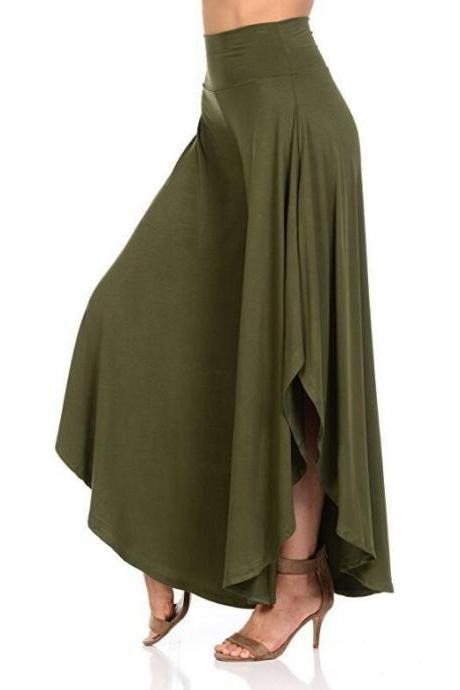 Elegant Irregular Ruffles Wide Leg Pants Women High Waist Pleated Casual Loose Streetwear Trousers army green