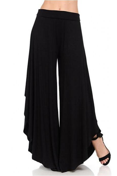 Elegant Irregular Ruffles Wide Leg Pants Women High Waist Pleated Casual Loose Streetwear Trousers black
