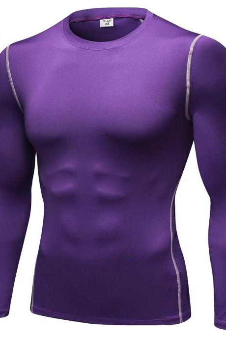 Men Pro Quick Dry Fitness Sport Run Yoga Exercise GYM Top Compression Tee Basketball Workout Hiking Board T Shirt purple
