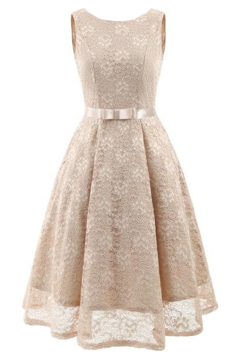 Vintage Floral Lace Dress O Neck Sleeveless Bow Belted Wedding Party Swing Dress champagne