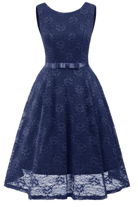 Vintage Floral Lace Dress O Neck Sleeveless Bow Belted Wedding Party Swing Dress navy blue