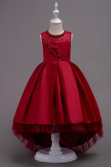 Princess Flower Girl Dress Lace High Low Wedding Birthday Party Tutu Gown Kids Clothes burgundy