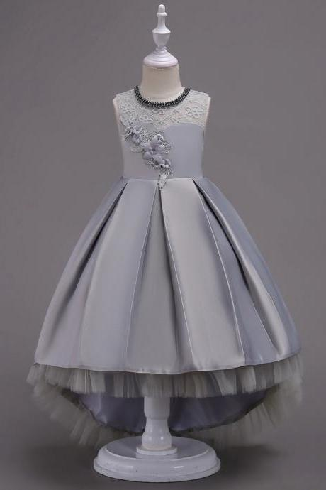 Princess Flower Girl Dress Lace High Low Wedding Birthday Party Tutu Gown Kids Clothes gray