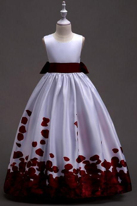 Long Flower Girl Dress Floral Printed Teens Wedding Bridesmaid Party Gown Children Clothes burgundy