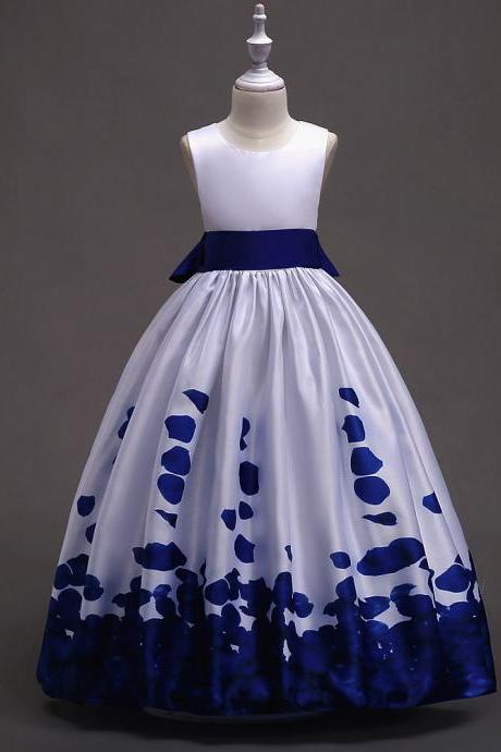 Long Flower Girl Dress Floral Printed Teens Wedding Bridesmaid Party Gown Children Clothes royal blue