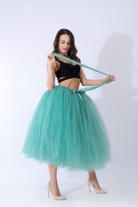 Women Puffy Tutu Skirts Long Tea Length Tulle Skirt Wedding Bridesmaid Lolita Under skirt light green