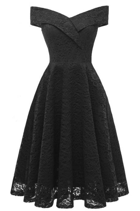 Off the Shoulder Floral Lace Dress V Neck Sexy Women Vintage Cocktail Formal Party Dress black