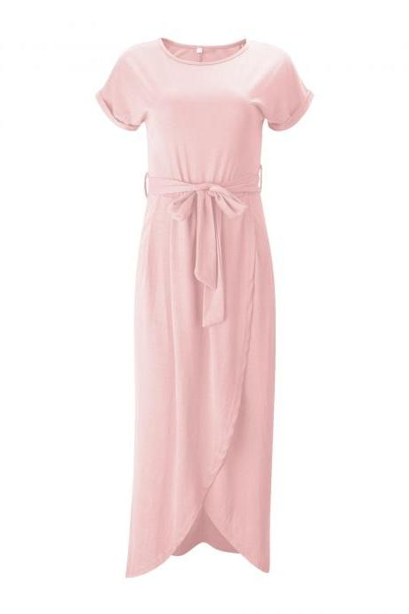 Women Casual Maxi Long Shirt Dress Slim Short Sleeve Bowk Belted Asymmetrical Office Party Sundress pink