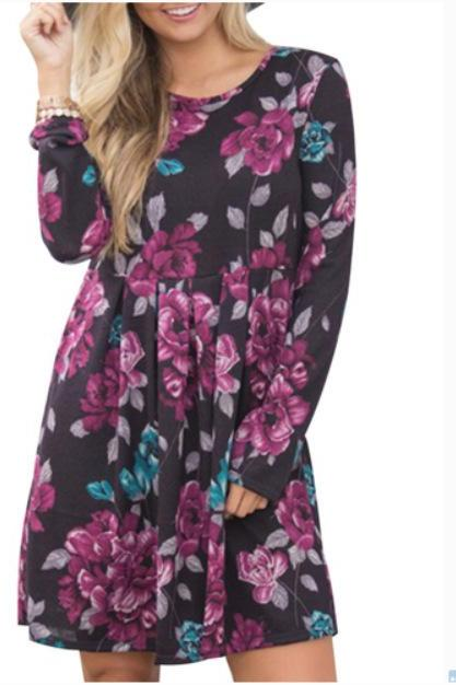 Women Spring Autumn Casual Dress Vintage Long Sleeve Floral Print Mini Beach Dress black